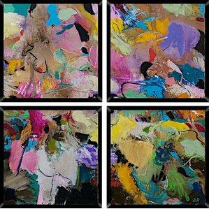 Tribeca 4 Piece Framed Painting Print Set