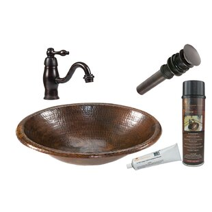 Premier Copper Products Metal Oval Drop-In Bathroom Sink with Faucet