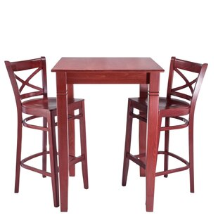 Eadie Wood Seat 3 Piece Pub Table Set