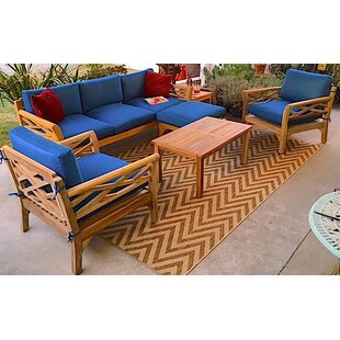 Lorenzo 6 Piece Teak Sunbrella Sofa Set with Cushions by Longshore Tides