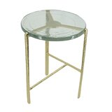 Barrera Glass Top Cross Legs End Table by Everly Quinn