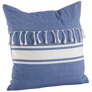 Ashenda Stripe and Tassel Fringe Trim 100% Cotton Throw Pillow