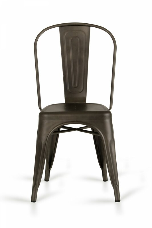 17 Stories Brauer Metal Slat Back Stacking Side Chair in Rust (Set of 2)