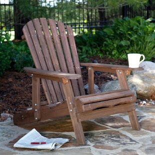 Yaritza Reclining Wood Folding Adirondack Chair with Ottoman by Highland Dunes