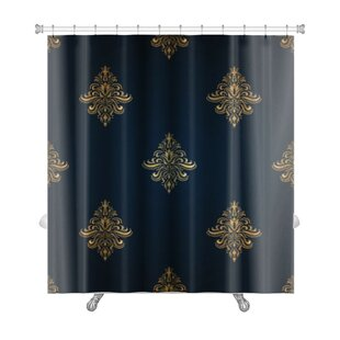 Alpha Classic Pattern with Floral Ornaments Premium Single Shower Curtain