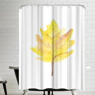 East Urban Home Jetty Printables Watercolor Yellow Leaf Shower Curtain