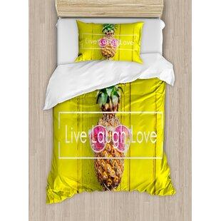 Live Laugh Love Tropical Pineapple With Sunglasses On Wood Board Joyful Print Duvet Set
