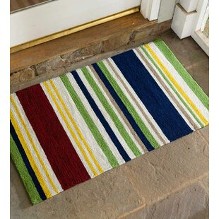 Rainbow Stripe Hooked Blue/Red/Green Indoor/Outdoor Area Rug