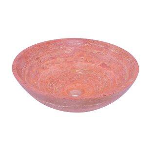 Novatto Travertine Stone Circular Vessel Bathroom Sink
