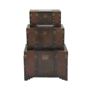 3 Piece Wood And Leather Trunk Set