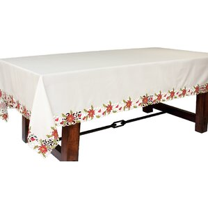 Poinsettia Lace Embroidered Cutwork Tablecloth