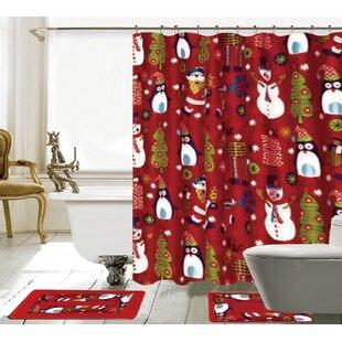 Country Shower Curtain Christmas Theme Festive Print for Bathroom