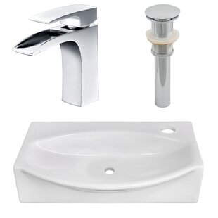Read Reviews Ceramic 12 Wall Mount Bathroom Sink with Faucet By American Imaginations