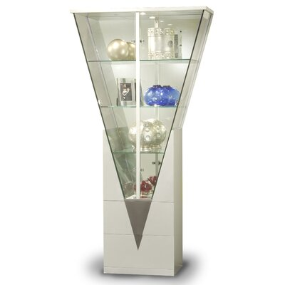 Chintaly Lighted Curio Cabinet Color: Silver