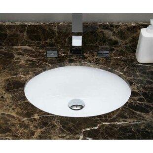 Ceramic Oval Undermount Bathroom Sink with Overflow ByAmerican Imaginations