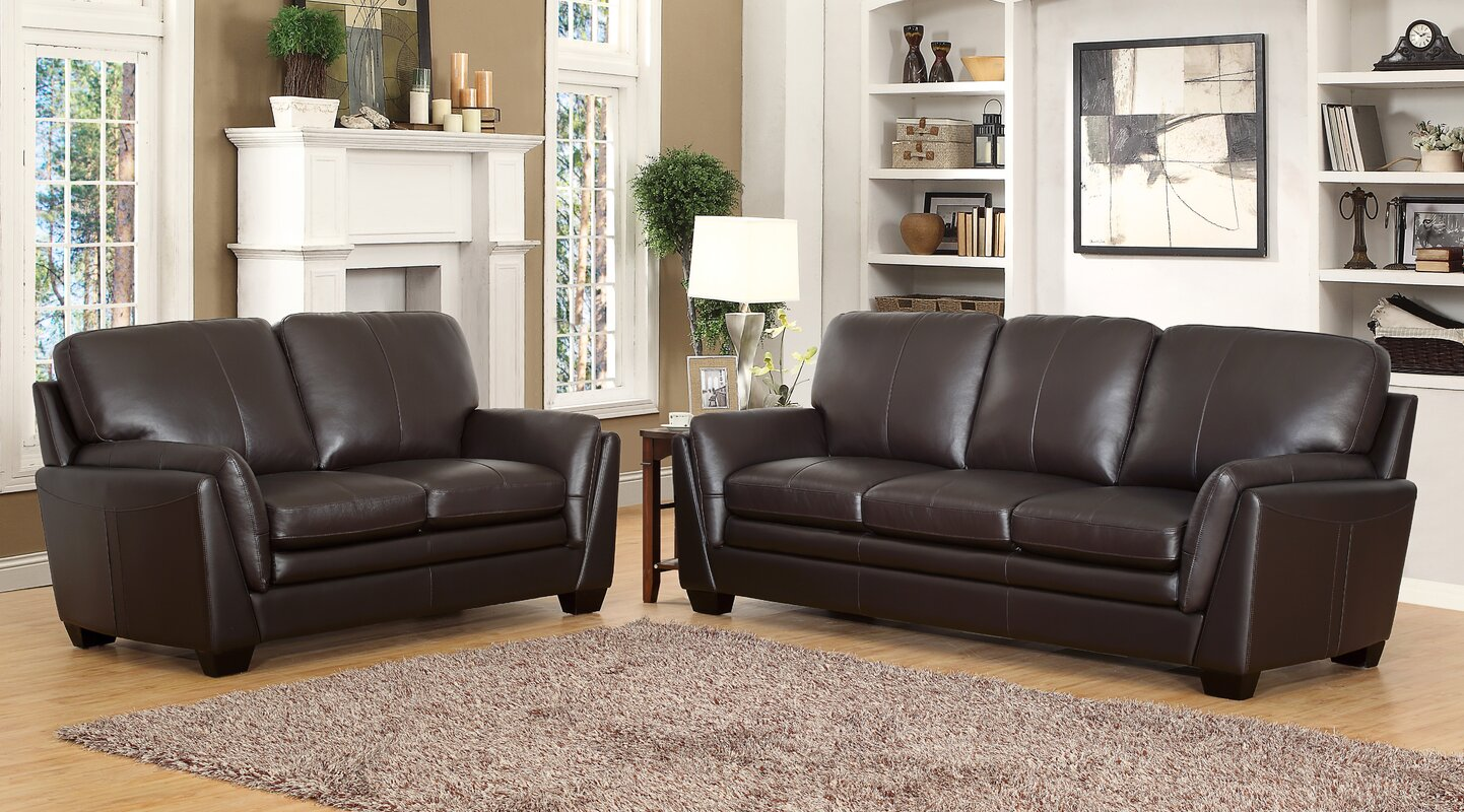 Darby home co whitstran 2 piece leather living room set 2 piece leather living room set