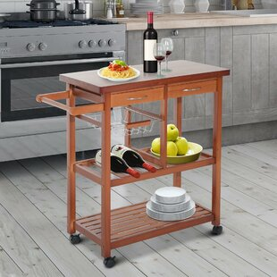 Atlas Wooden Rolling Storage Microwave Kitchen Cart