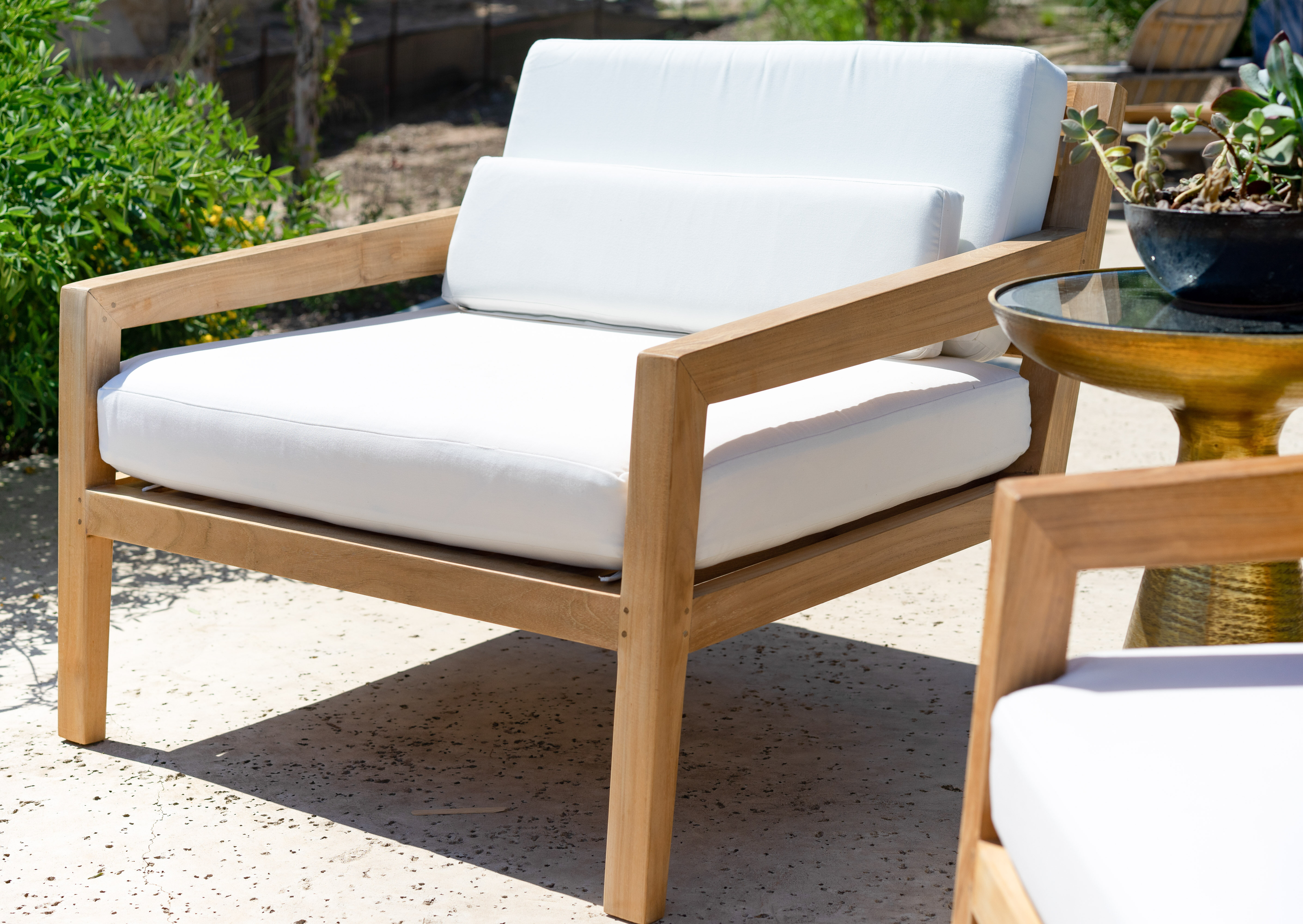 Beespoke Catalina Moana Outdoor Teak Patio Chair With Cushions Wayfair