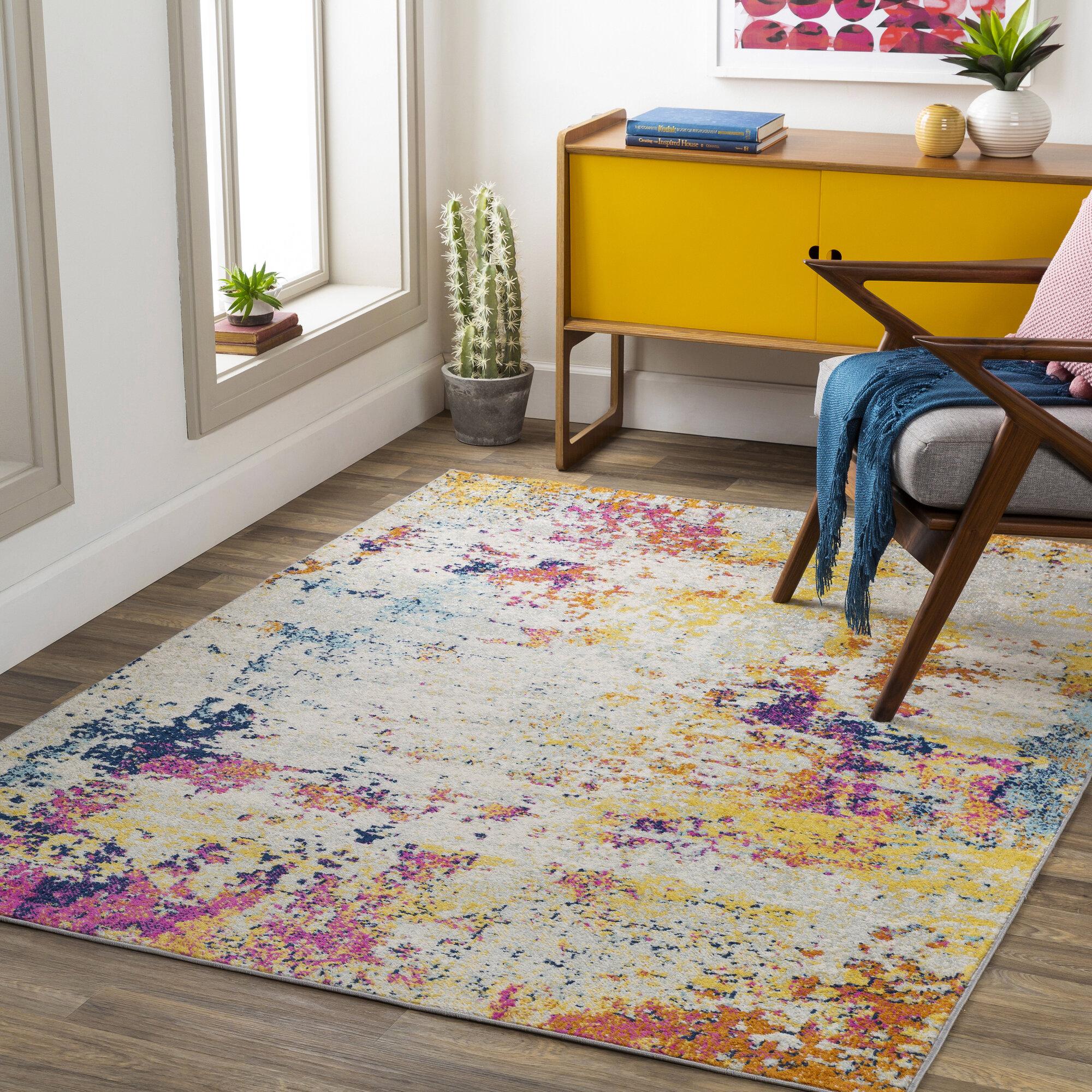 17 Stories Bashaw Abstract Blue Yellow Area Rug Reviews Wayfair