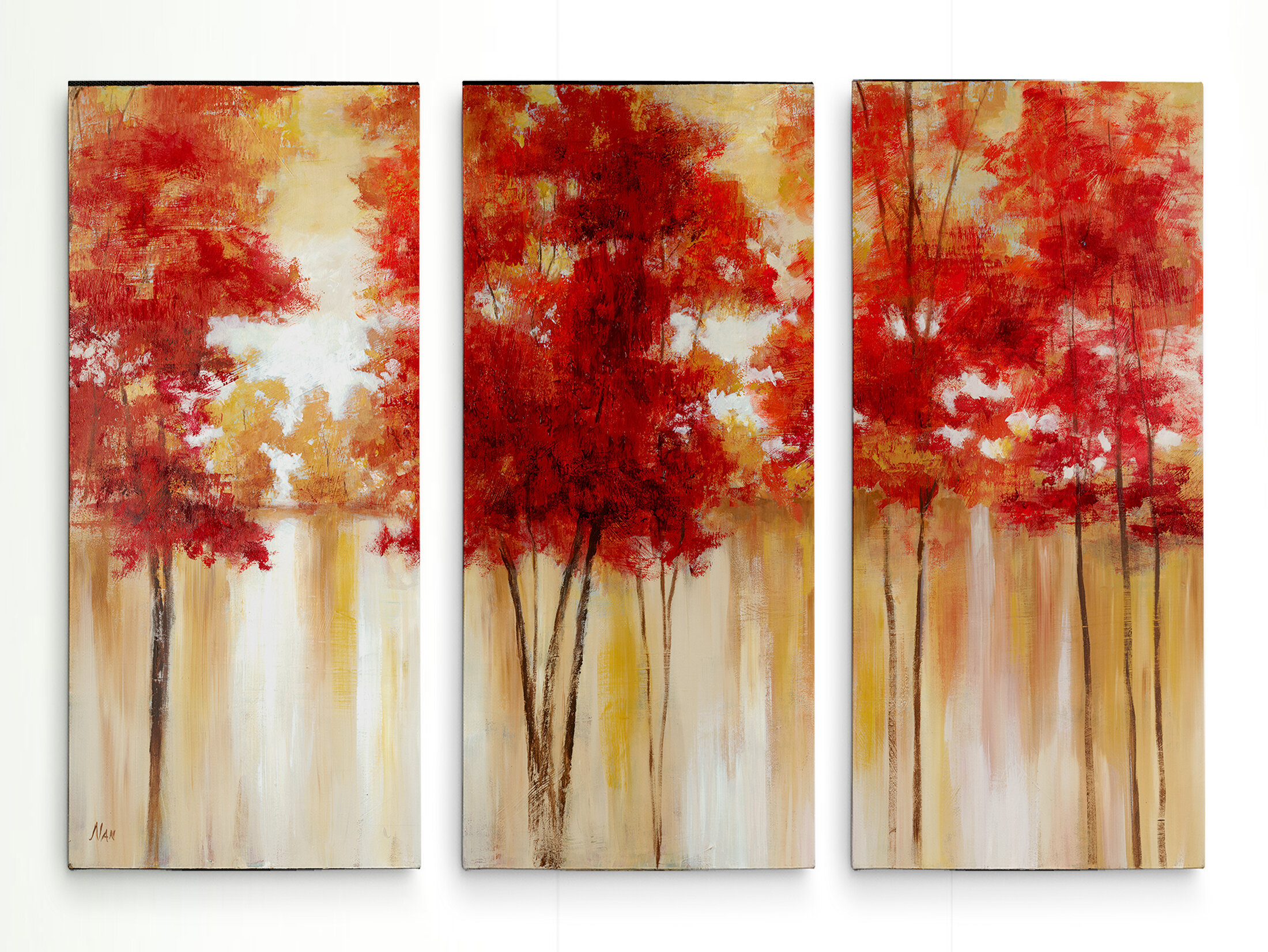 Alcott Hill Red Trees Multi Piece Image On Canvas Reviews Wayfair