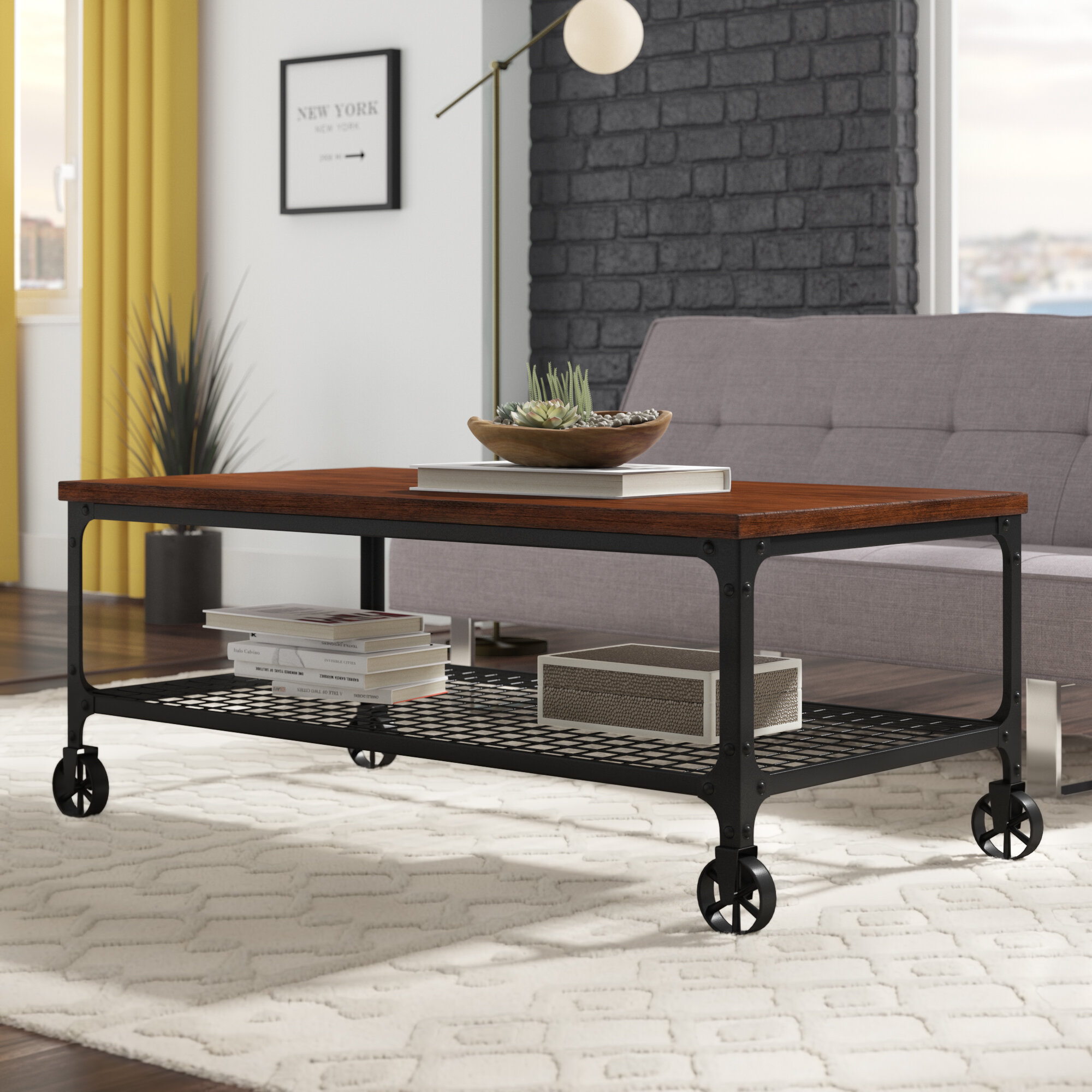Merveilleux Alpert Industrial Coffee Table With Tray Top