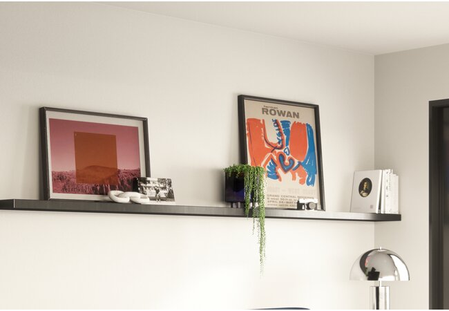 Picture of long wall shelf with books, two art prints, and one trailing houseplant on top.