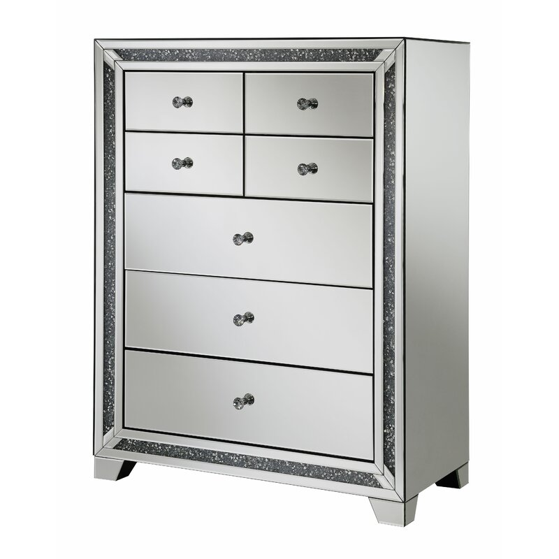 Everly Quinn Theroux 5 Drawer Mirrored