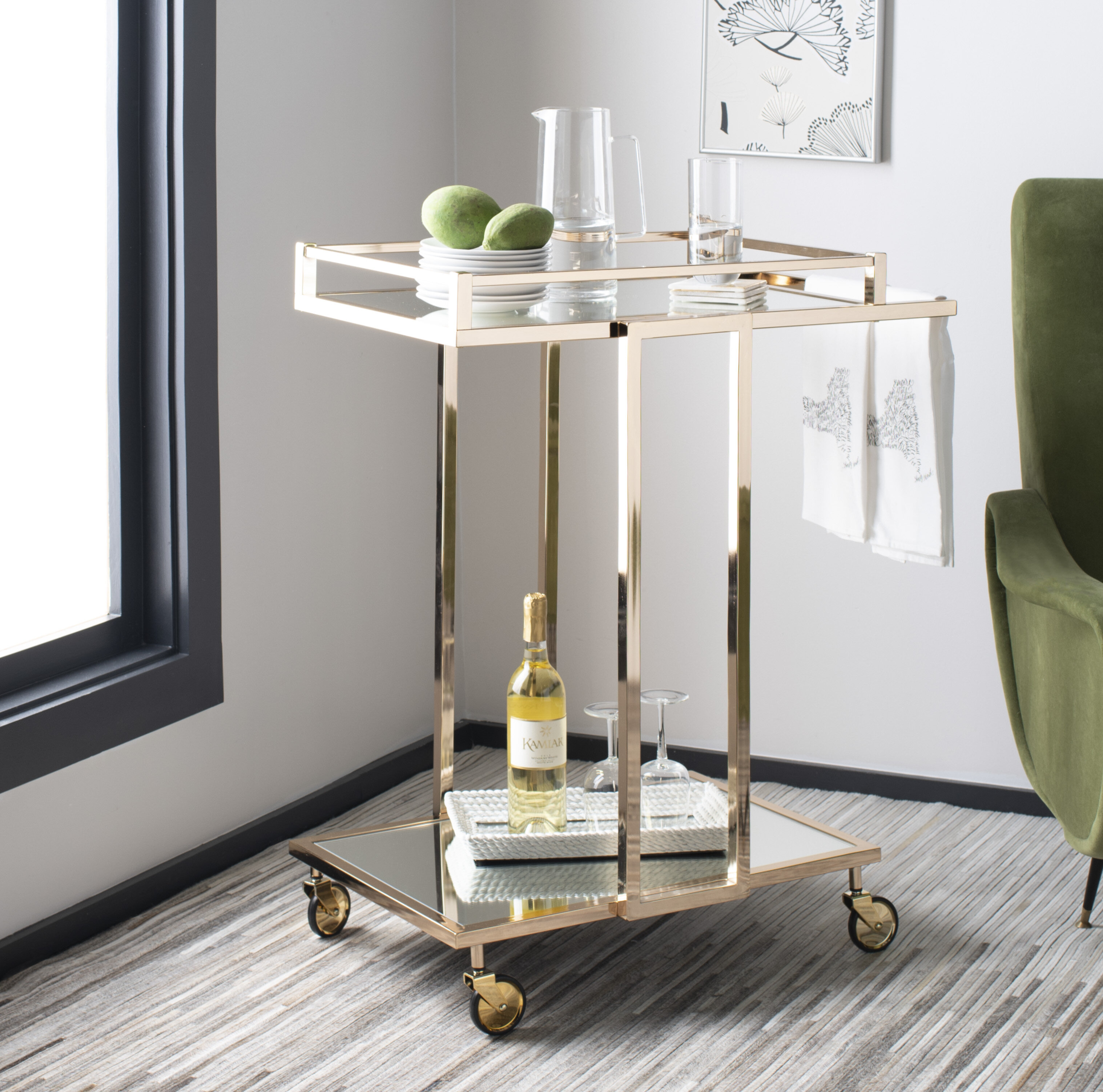 Trudie 2 Tier Rectangle Bar Cart By Mercer41