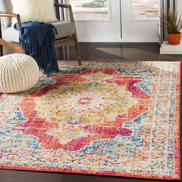 Bungalow Rose Amanah Power Loom Red Yellow Orange Rug Reviews Wayfair