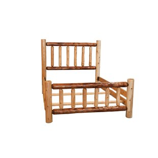Ulloa Rustic White Cedar Log Two Tone Panel Bed by Loon Peak