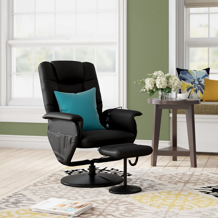save off 41f90 2b457 Leather Heated Massage Chair with Ottoman