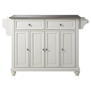 Goreville Kitchen Island with Stainless Steel Top