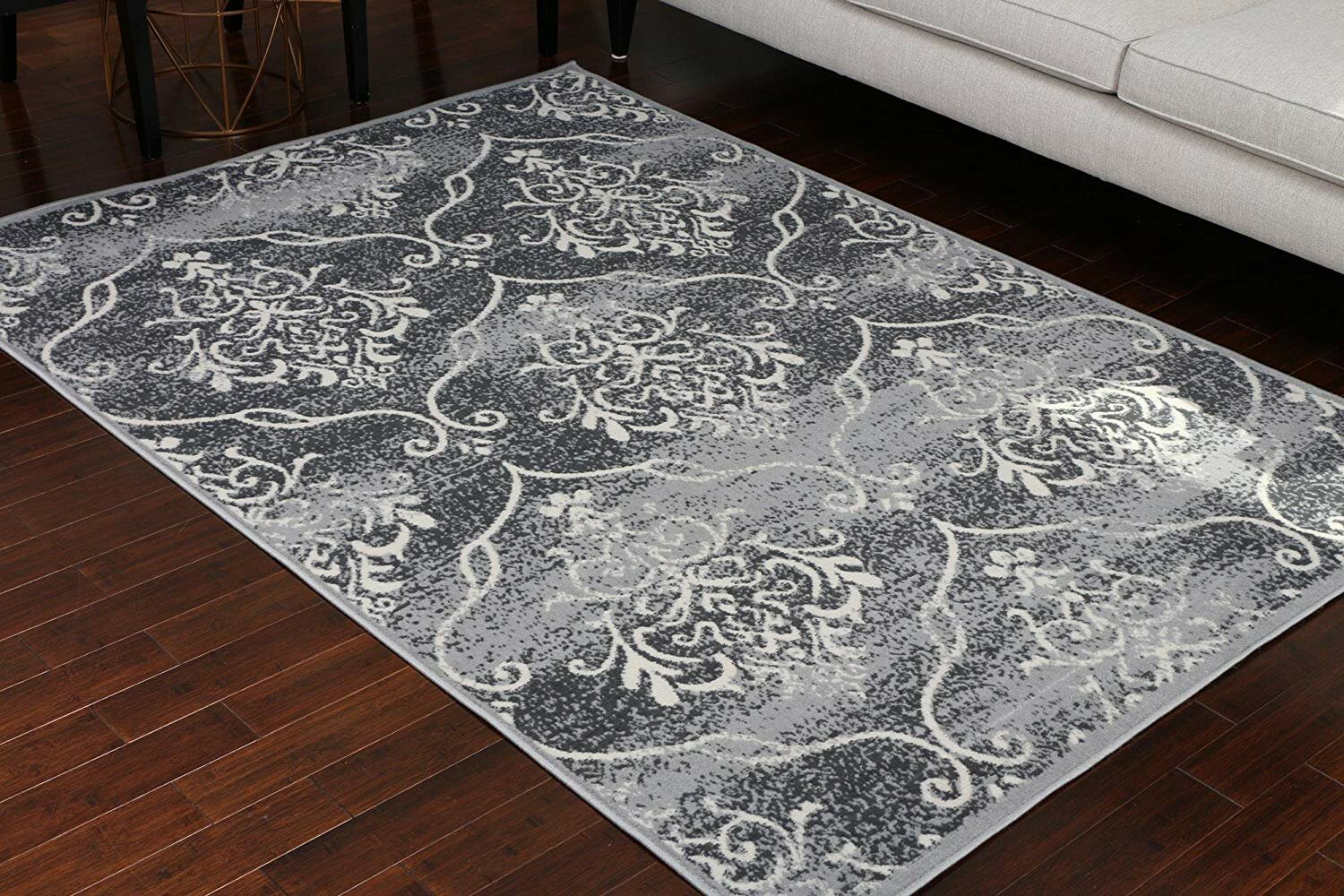 Ventura Large Print Trellis Design Gray Area Rug