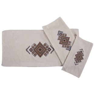 Sedona Aztec Embroidery 3 Piece Towel Set