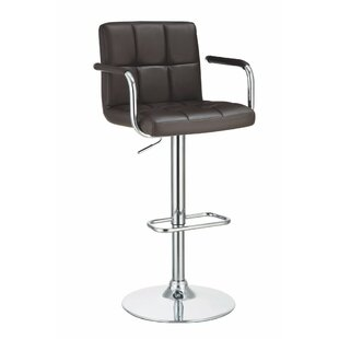 Workman Grid Adjustable Height Swivel Bar Stool by Orren Ellis Modern