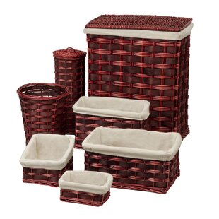 Honey Can Do 7 Piece Wicker Laundry Hamper and Waste Basket Set