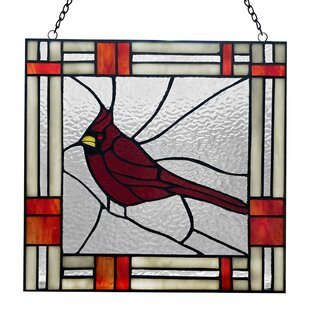 Red Northern Cardinal Songbird Stained Glass Window Panel