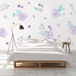 Purple Watercolor Flowers Wall Decal