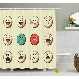 Audra Emoji Cartoon Like Vintage Old Smiley Faces With Angry Sad Nervous Mood Expression Print Single Shower Curtain