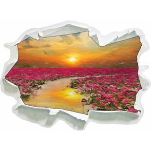 Lotus Blossoms In Lake At Sunset Wall Sticker By East Urban Home