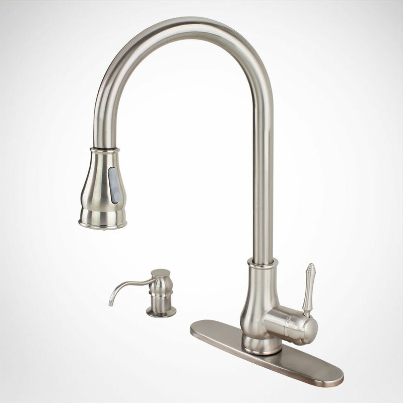 82h17 Bn Pull Out Single Handle Kitchen Faucet With Side Spray