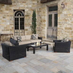 Monroeville 5 Piece Rattan Sunbrella Sofa Set with Cushion By Darby Home Co