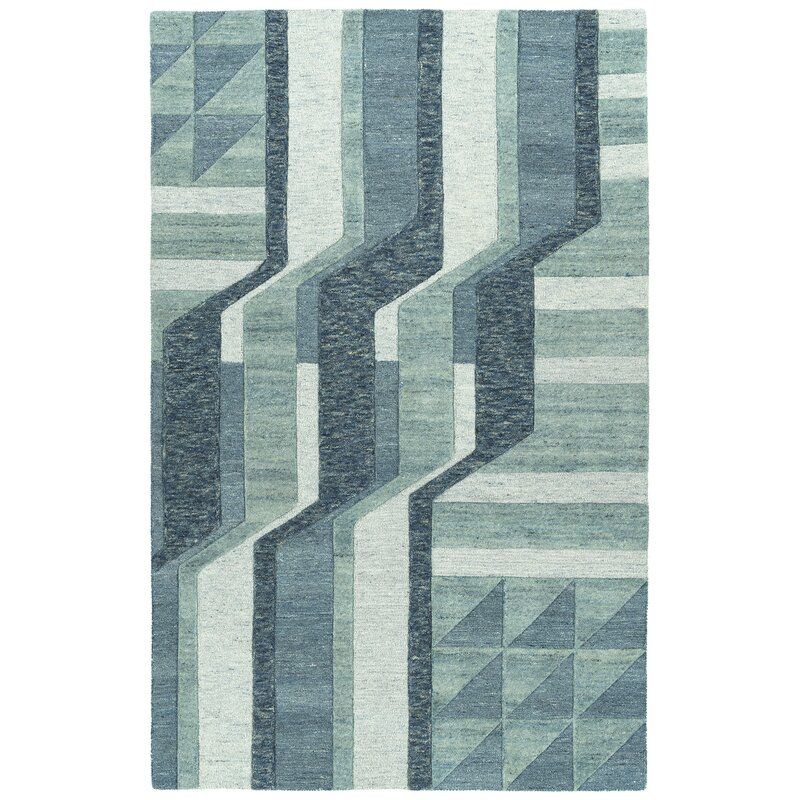 Orren Ellis Wirt Hand Tufted Wool Blue Area Rug Wayfair