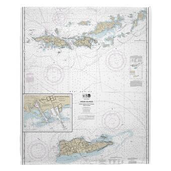 Breakwater Bay Nautical Chart Atlantic City Nj Fleece Blanket Wayfair
