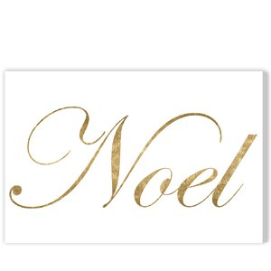 'Noel Gold' Textual Art on Wrapped Canvas