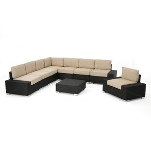 Lower Failand 9 Piece Rattan Sunbrella Sectional Set with Cushions by Orren Ellis