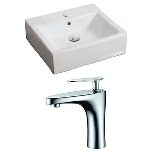 Read Reviews Ceramic 21 Wall-Mount Bathroom Sink with Faucet and Overflow By Royal Purple Bath Kitchen
