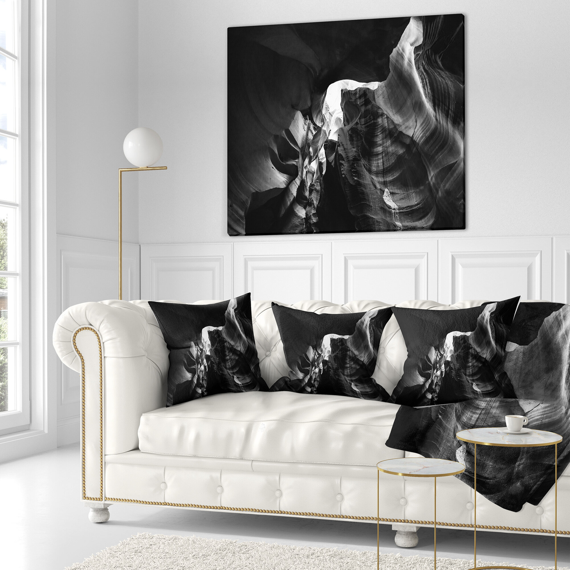 East Urban Home Designart Black And White Antelope Canyon Landscape