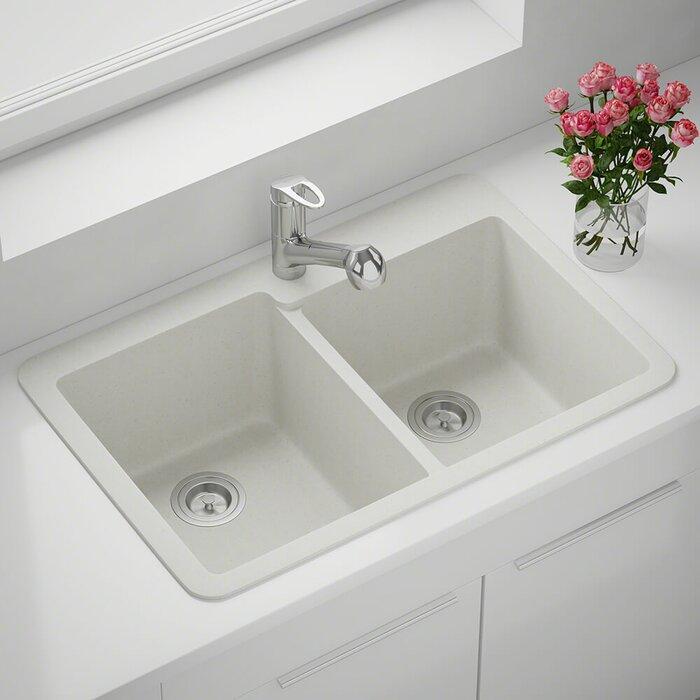 Granite Composite 33 L X 22 W Double Basin Drop In Kitchen Sink
