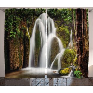 Waterfall Down the Cliffs Deep Decor Graphic Print Room Darkening Rod Pocket Curtain Panels (Set of 2) by East Urban Home